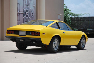 The first Ferrari to have rubber bumpers, 365 GTC/4 s/n 15817 in Giallo Fly. The Daytona and Dino were the last Ferrari cars to have chrome bumpers.