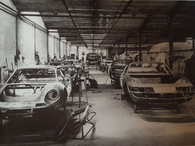 Unlike Daytona and Dino bodies, which were designed by Pininfarina but built by Carrozzeria Scaglietti (shown here circa 1969), the 365 GTC/4 bodies were both designed and built at Pininfarina. Unfortunately, no photo of the Pininfarina production line from 1972 could be located.