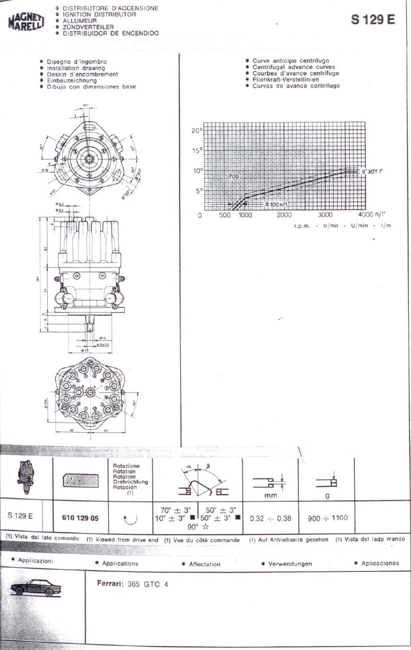 Marelli Distributor Parts Diagram Reinvent Your Wiring 365 Gtc Magneti Single S129e Ferrari 4 Forum Rh 365gtc4 Com Ford